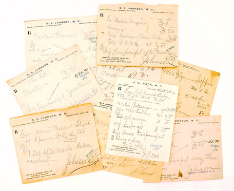 Vintage / Antique Handwritten Medical Prescriptions, Set of 9 Slips (c.1900s) N3 - ThirdShiftVintage.com