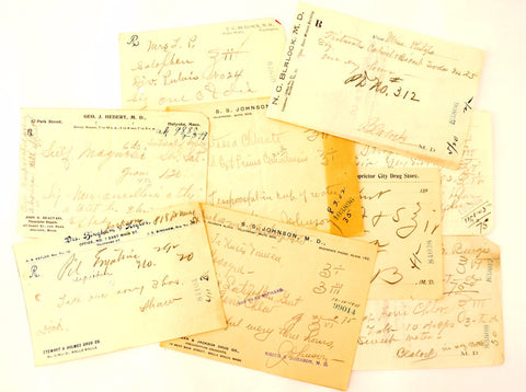 Vintage / Antique Handwritten Medical Prescriptions, Set of 9 (c.1900s) N6 - Paper Ephemera, Collectibles, Medical Oddities - ThirdShift Vintage