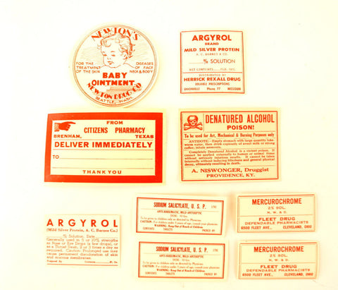 Antique Medicine Apothecary Pharmacy Labels in Red and White, Set of 9 (c.1890s) N2 - ThirdShift Vintage