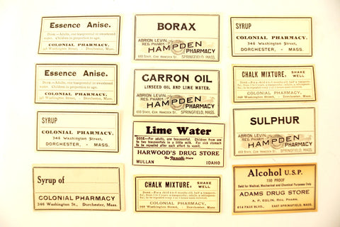 Antique Medicine Apothecary Pharmacy Labels, Black & White, Set of 12 (c.1890s) N3 - ThirdShift Vintage