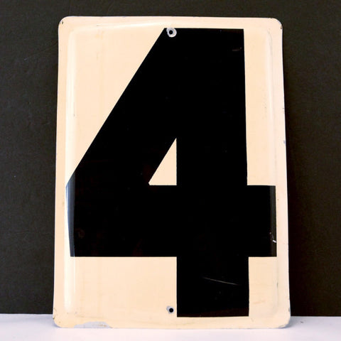 "Vintage Industrial Metal Number 4 Sign, Gas Station Sign in Ivory and Black, 13.5"" tall (c.1950s) - ThirdShiftVintage.com"