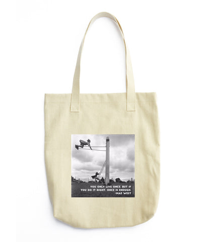 "Printed Tote Bag - ""You Only Live Once"" - ThirdShift Vintage"