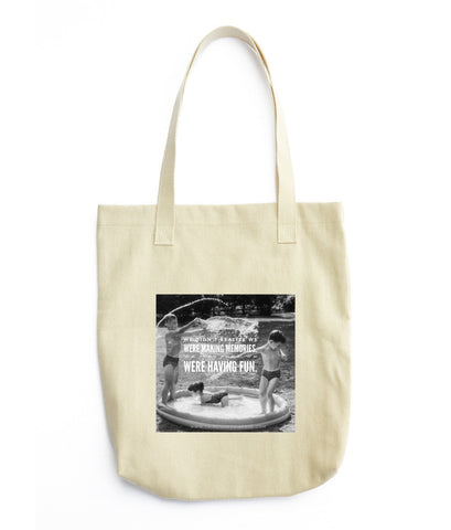 "Printed Tote Bag - ""Making Memories"" - ThirdShift Vintage"