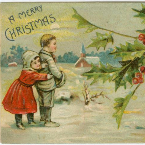 "Digital Download ""A Merry Christmas"" Christmas Postcard (c.1906) - Instant Download Printable - thirdshift"