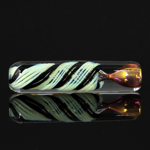 Ultra heavy color changing green slime and black chillum with gold and silver fuming Glassheads - Head Shop Headquarters