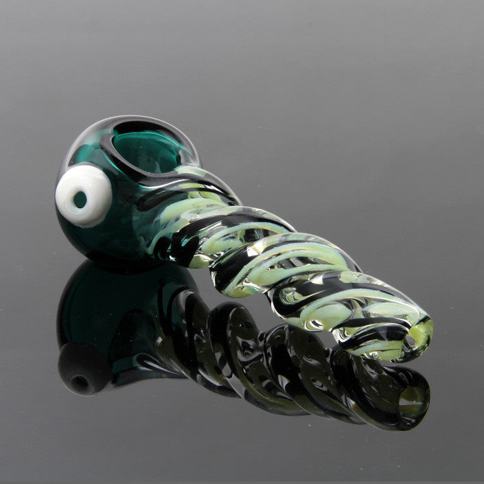 5inch Greenÿslime and black twist pipe with green head Glassheads