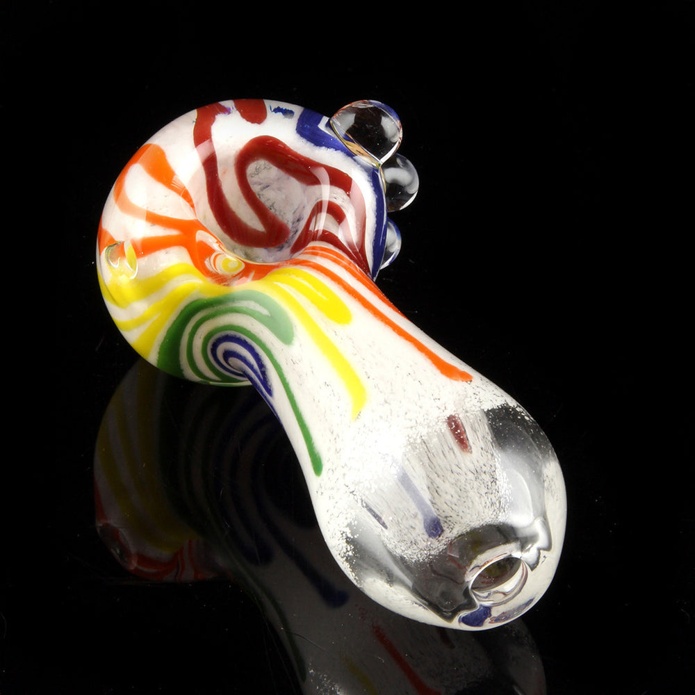 "4.5"" Inside-out white frit pipe with rainbow colored strips and marbles"