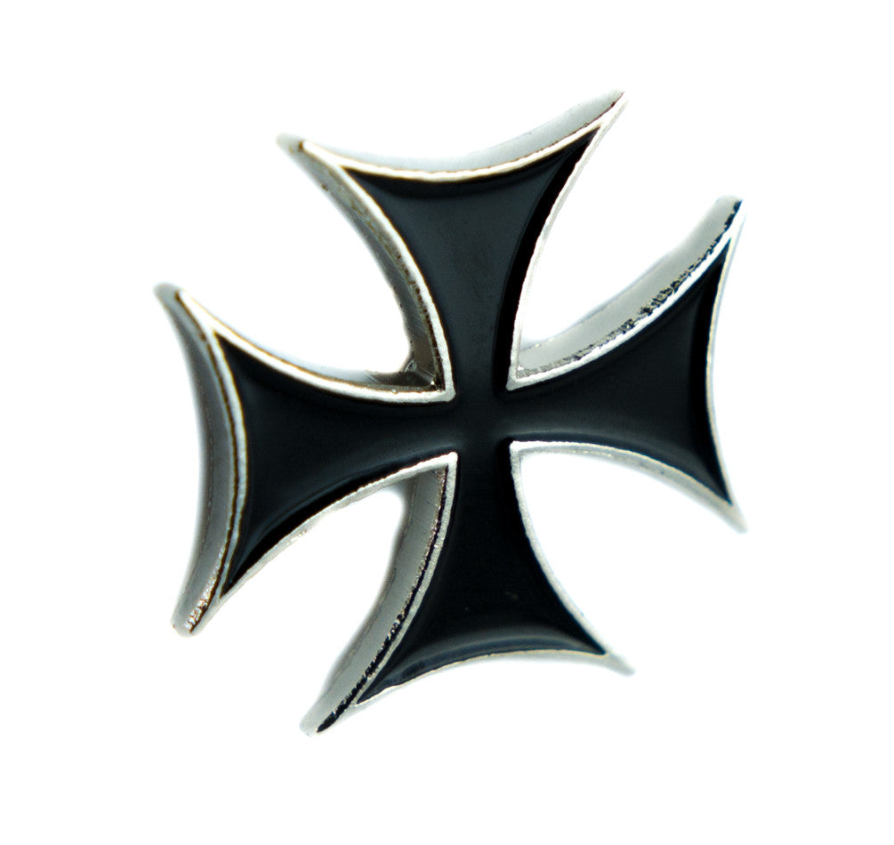 Maltese Iron Cross Lapel Pin Alternative Clothing Punk Rock Rockabilly Style Jacket Pin