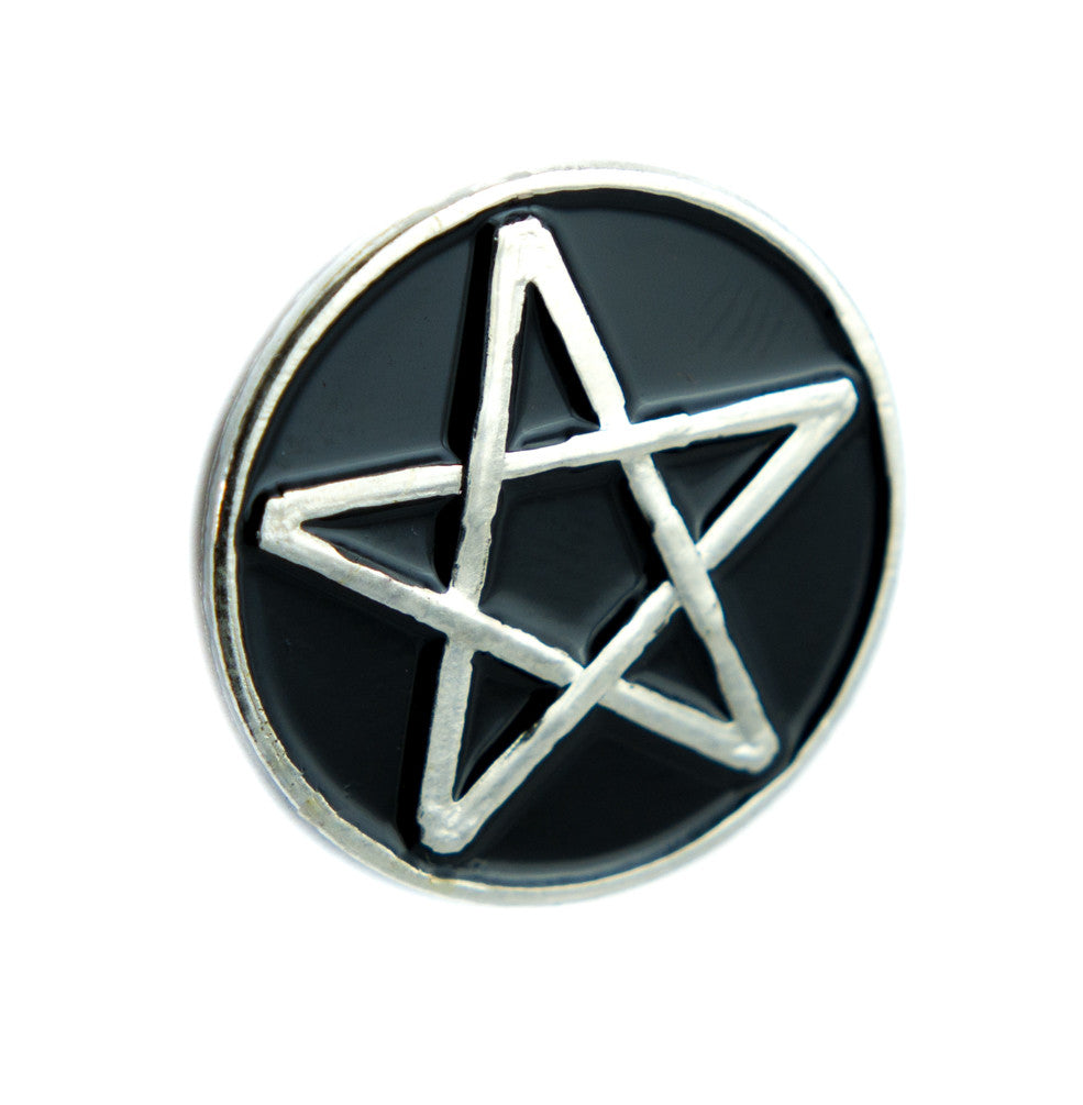 Wiccan Black Inlay Pentagram Lapel Pin Gothic Wicca Jewelry Witchcraft Jacket Pin