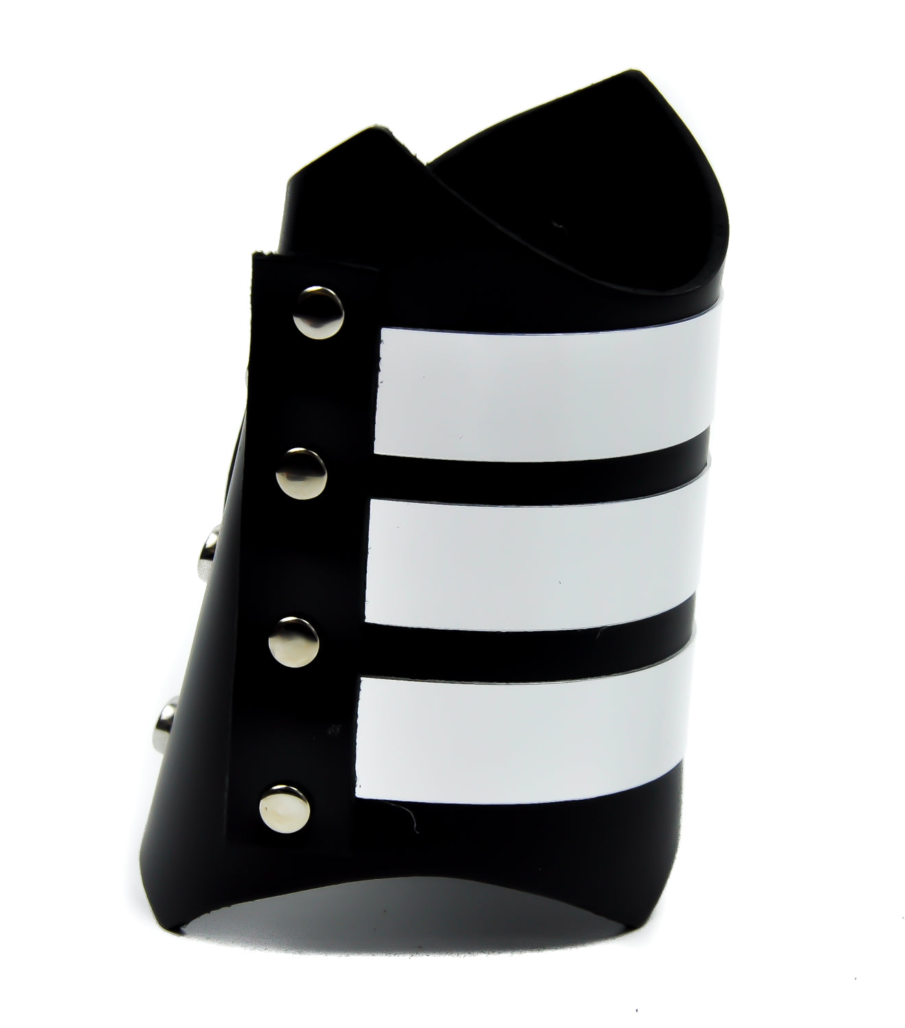 Metal Strip Armband Real Leather Wristband Gauntlet Alternative Clothing