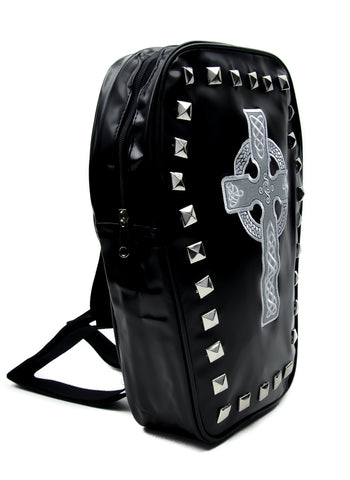 Pyramid Stud Coffin Backpack Bag w/ Celtic Cross Tombstone Gothic Clothing