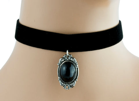 Victorian Style Velvet Choker with Black Stone Alternative Gothic Jewelry