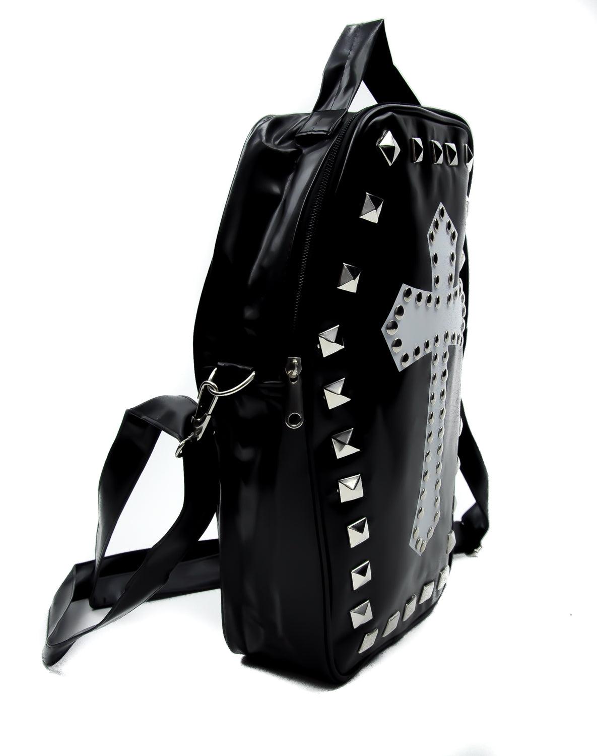 Studded Cross Coffin Sling Bag Cross Body w/ Pyramid Studs Gothic Clothing Deathrock