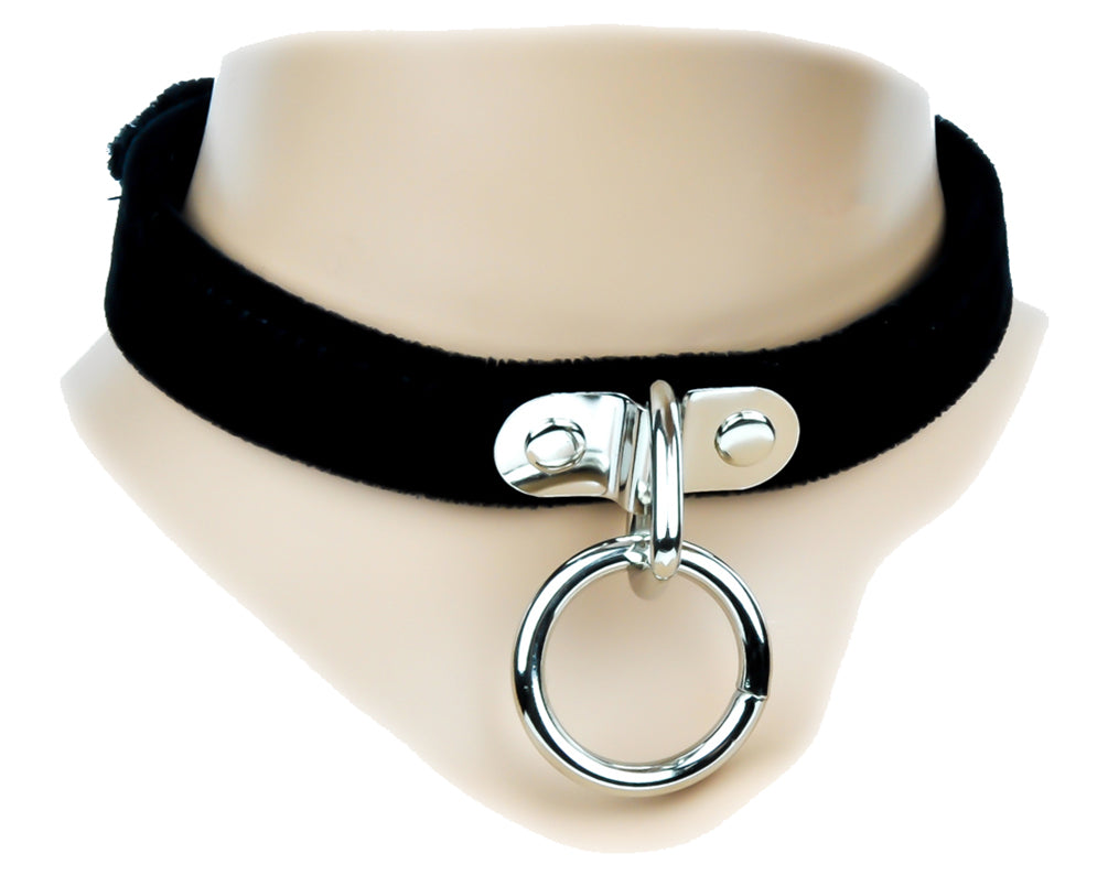 Black Velvet Leather Choker Sexy O Ring Fashion Necklace Sub Bondage Fetish Collar