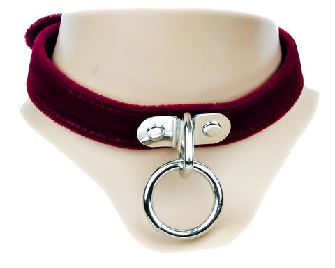 Red Velvet Leather Choker Sexy O Ring Fashion Necklace Sub Bondage Fetish Collar