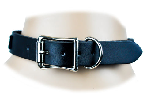 Black Leather Strap Choker Fashion Necklace Sub Bondage Fetish Collar BDSM
