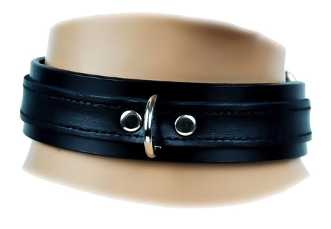Black Strap D Ring Real Leather Choker Fashion Necklace Sub Bondage Fetish Collar