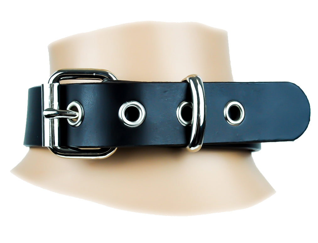 "1"" Wide Leather O Ring Choker Fashion Necklace Sub Bondage Fetish Collar"