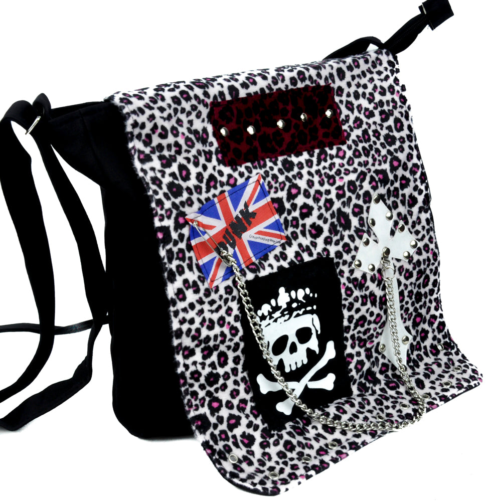 Punk Rock Leopard Velvet Messenger Sling Bag Cross Body Rockabilly Clothing