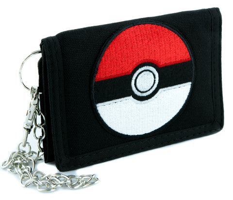 Pokeball Pokemon Go Tri-fold Wallet with Chain Alternative Clothing Gotta Catch em All
