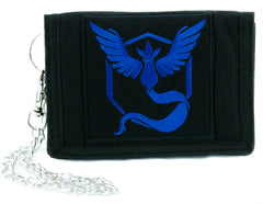 Team Mystic Blue Pokemon Go Tri-fold Wallet with Chain Alternative Clothing Pikachu