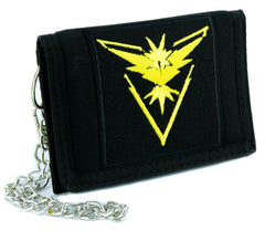 Team Instinct Yellow Pokemon Go Tri-fold Wallet with Chain Alternative Clothing Gotta Catch em All