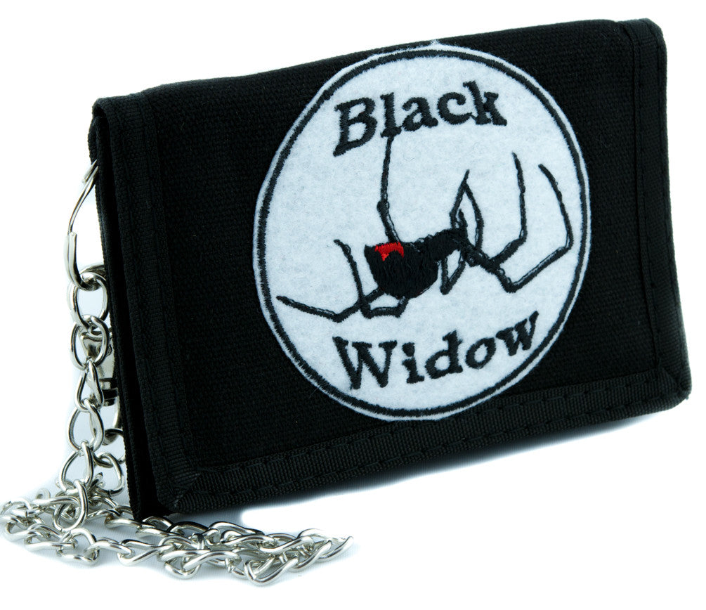 Black Widow Spider Tri-fold Wallet with Chain Alternative Clothing Halloween Horror