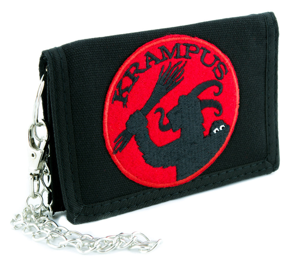 Gross Vom Krampus Tri-fold Wallet with Chain Occult Clothing Merry Christmas Satan