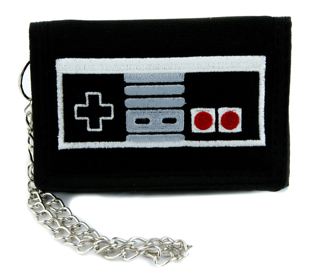 NES Nintendo Classic Controller Tri-fold Wallet with Chain Alternative Clothing Gamer