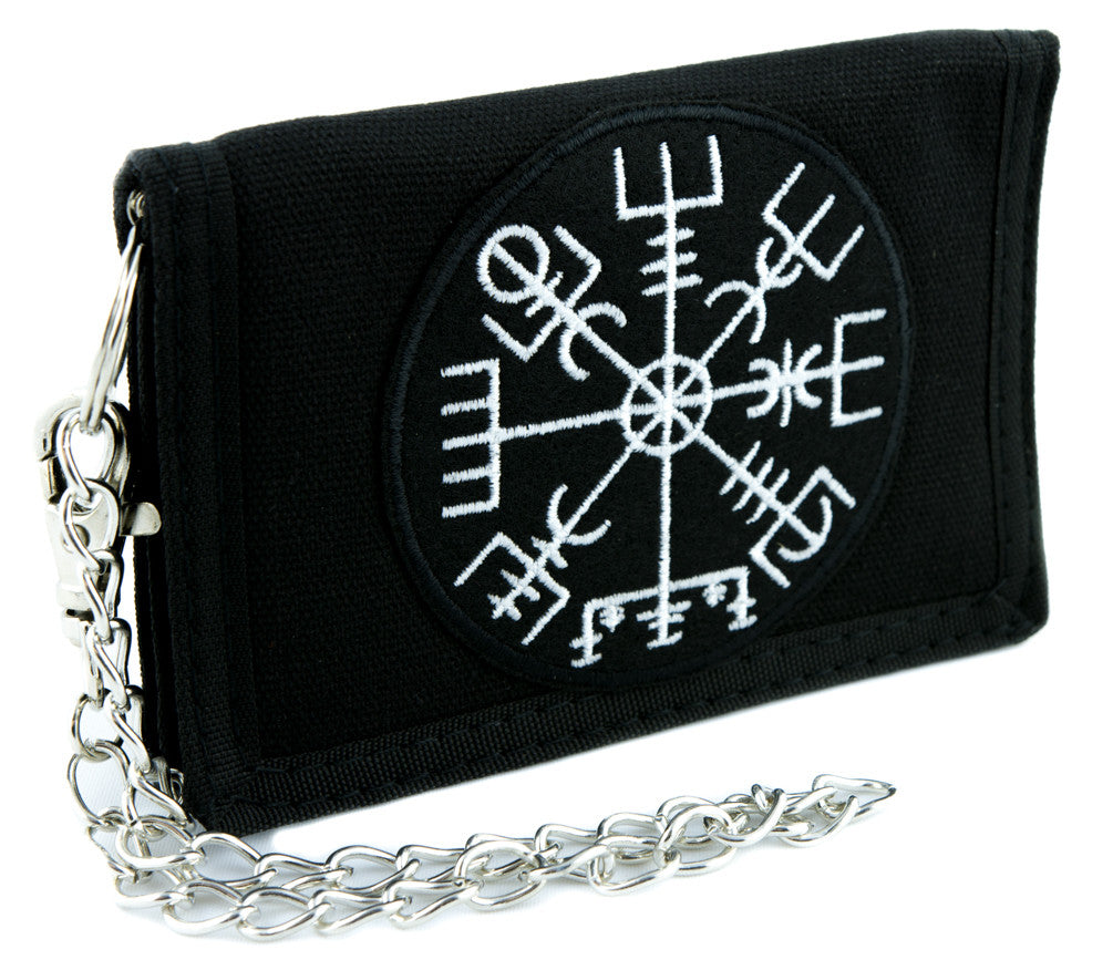 Vegvisir Viking Compass Symbol Tri-fold Wallet Alternative Clothing Odin Norse Mythology
