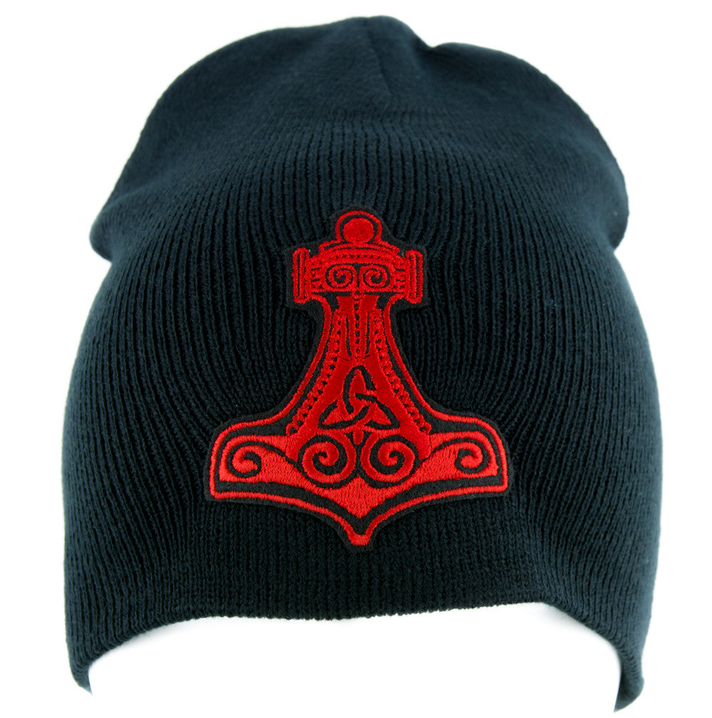 Red Mjolnir Thor's Hammer Norse Viking God Beanie Alternative Clothing Knit Cap