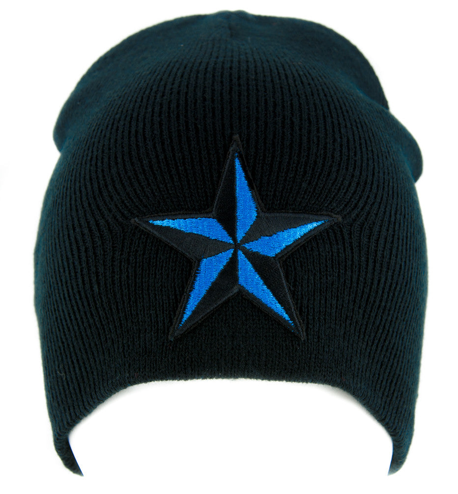 Blue Nautical Star Beanie Alternative Clothing Knit Cap Rockabilly Tattoo Symbol