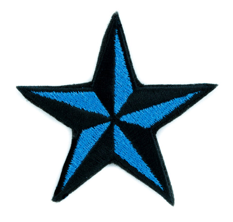 Blue Nautical Star Patch Iron on Applique Alternative Clothing Tattoo Rockabilly Symbol
