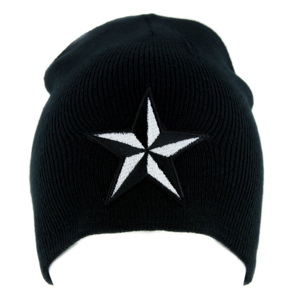 White Nautical Star Beanie Alternative Clothing Knit Cap Rockabilly Tattoo Symbol