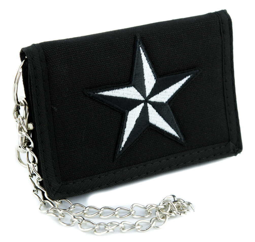 White Nautical Star Tri-fold Wallet Alternative Clothing Tattoo Rockabilly Symbol