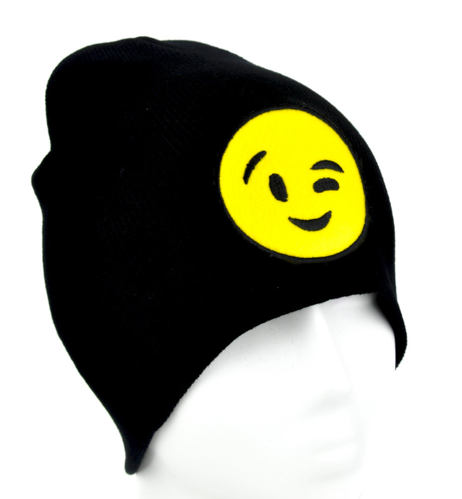 Sexy Winky Face Emoji Beanie Alternative Clothing Knit Cap Flirt Sex