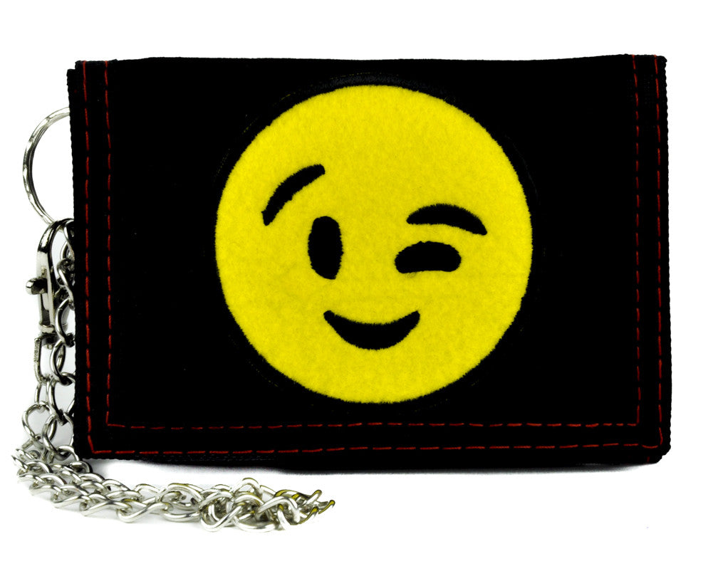 Sexy Winky Face Emoji Tri-fold Wallet with Chain Alternative Clothing Flirt