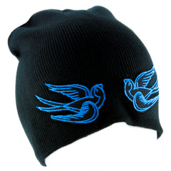 Blue Swallow Sparrow Birds Beanie Alternative Clothing Knit Cap Rockabilly Tattoo Symbol
