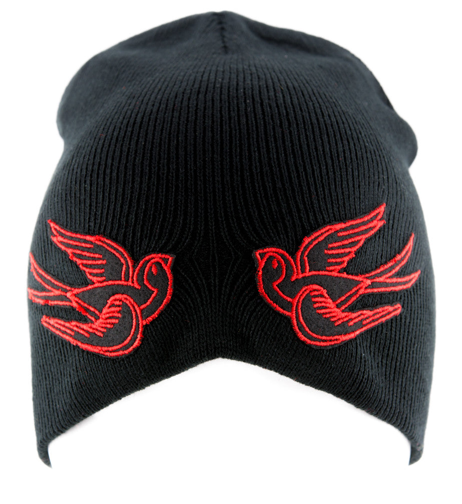 Red Swallow Sparrow Birds Beanie Alternative Clothing Knit Cap Rockabilly Tattoo Symbol