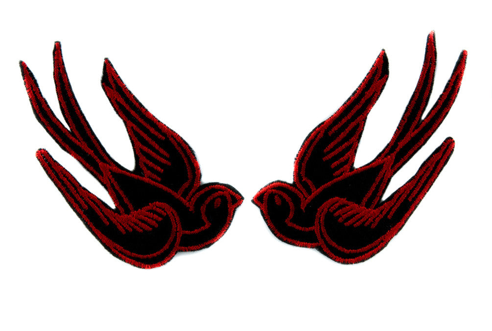 Red Swallow Sparrows Bird Patch Iron on Applique Alternative Clothing Tattoo Rockabilly