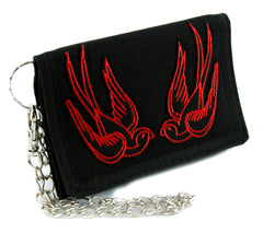 Red Swallow Sparrow Birds Tri-fold Wallet Alternative Clothing Rockabilly Tattoo Ink