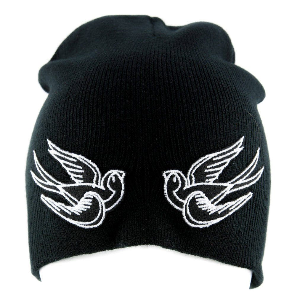 White Swallow Sparrow Birds Beanie Alternative Clothing Knit Cap Rockabilly Tattoo Symbol