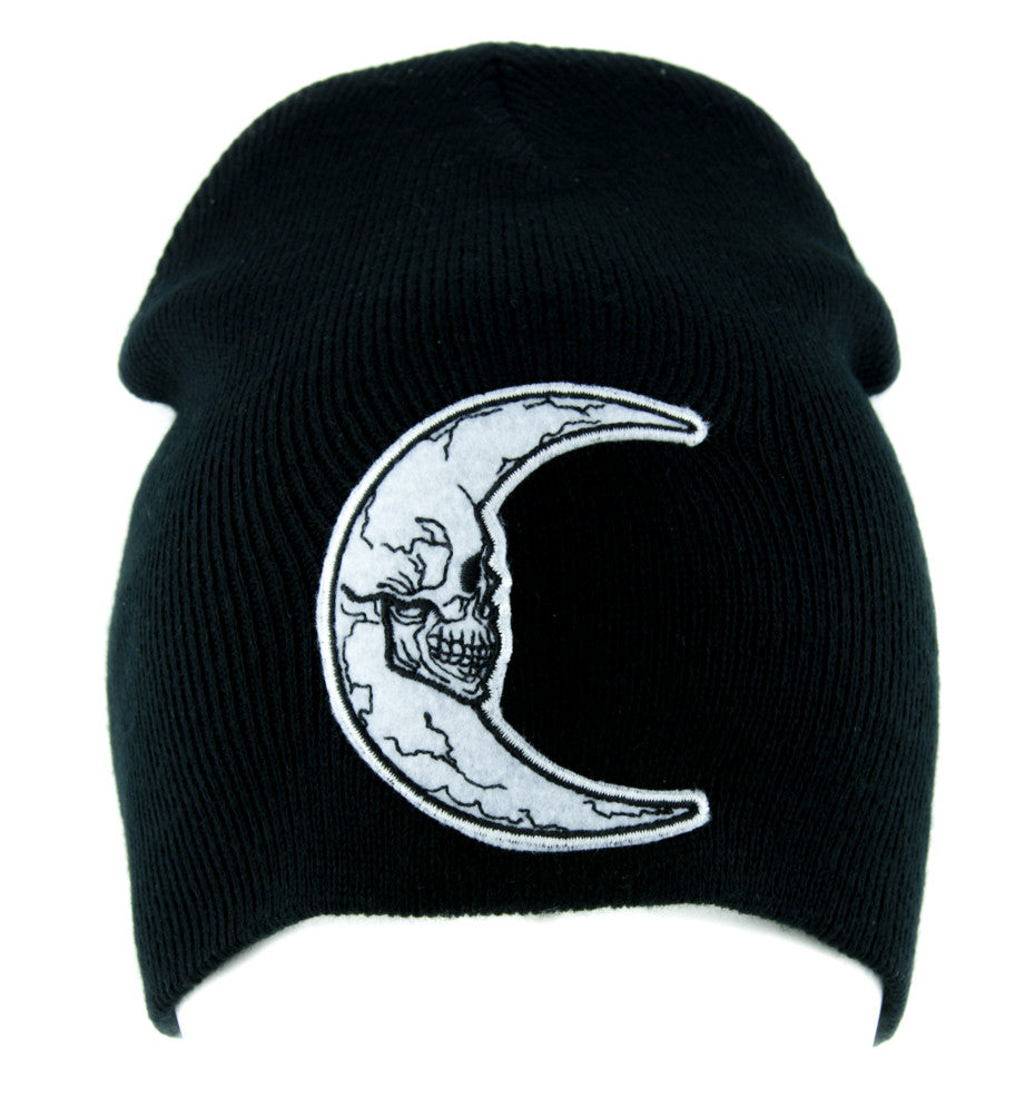 Crescent Moon Skull Beanie Alternative Clothing Knit Cap Astrology Witchcraft