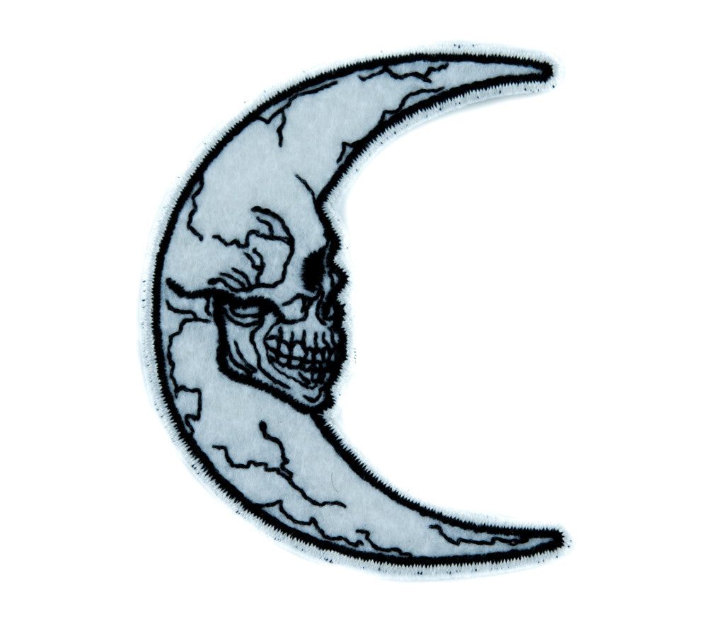 Crescent Moon Skull Patch Iron on Applique Alternative Clothing Astrology Witchcraft