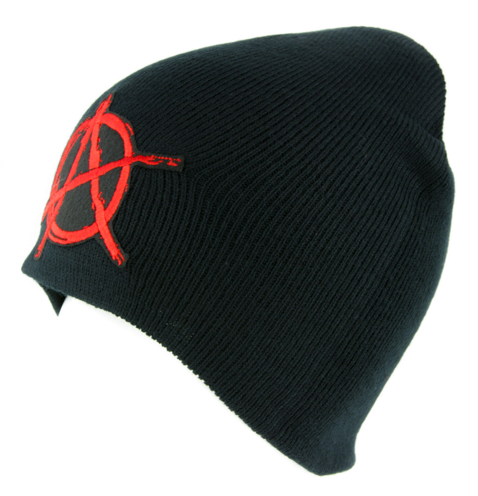 Red Anarchy Sign Beanie Knit Cap Alternative Clothing Punk Rock Revolution