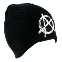 White Anarchy Sign Beanie Knit Cap Alternative Clothing Punk Rock Revolution
