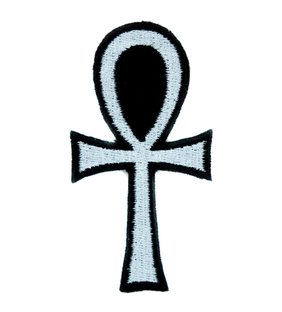 White Ankh Egyptian Hieroglyph Patch Iron on Applique Alternative Clothing Eternal Life