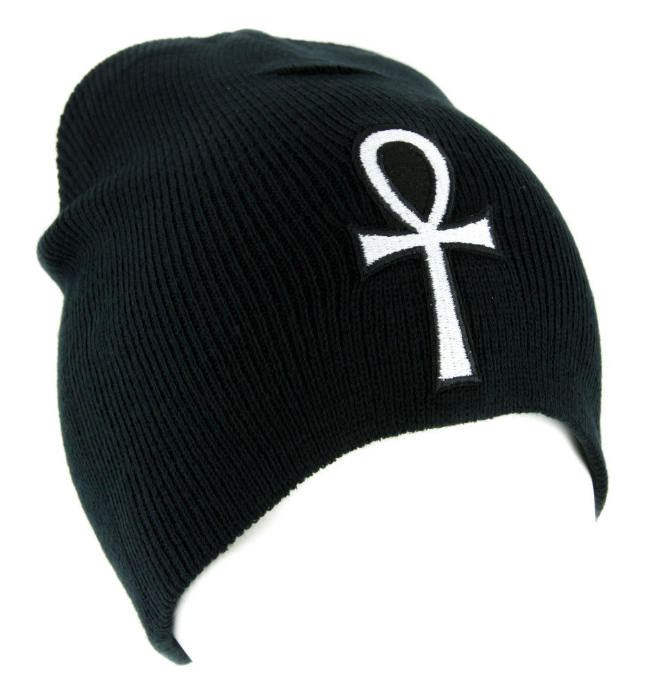 White Ankh Egyptian Hieroglyph Beanie Knit Cap Alternative Clothing Eternal Life