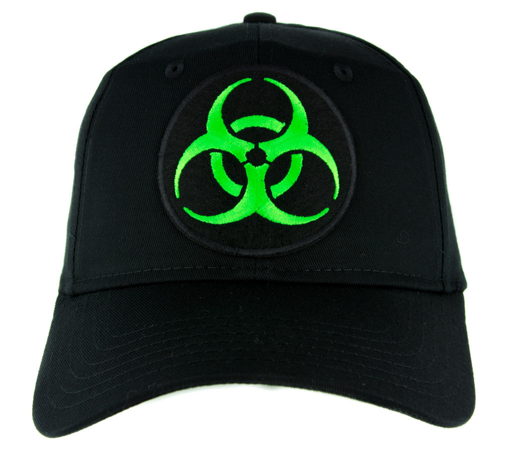 Toxic Green Biohazard Sign Hat Baseball Cap Horror Clothing Zombie Apocalypse