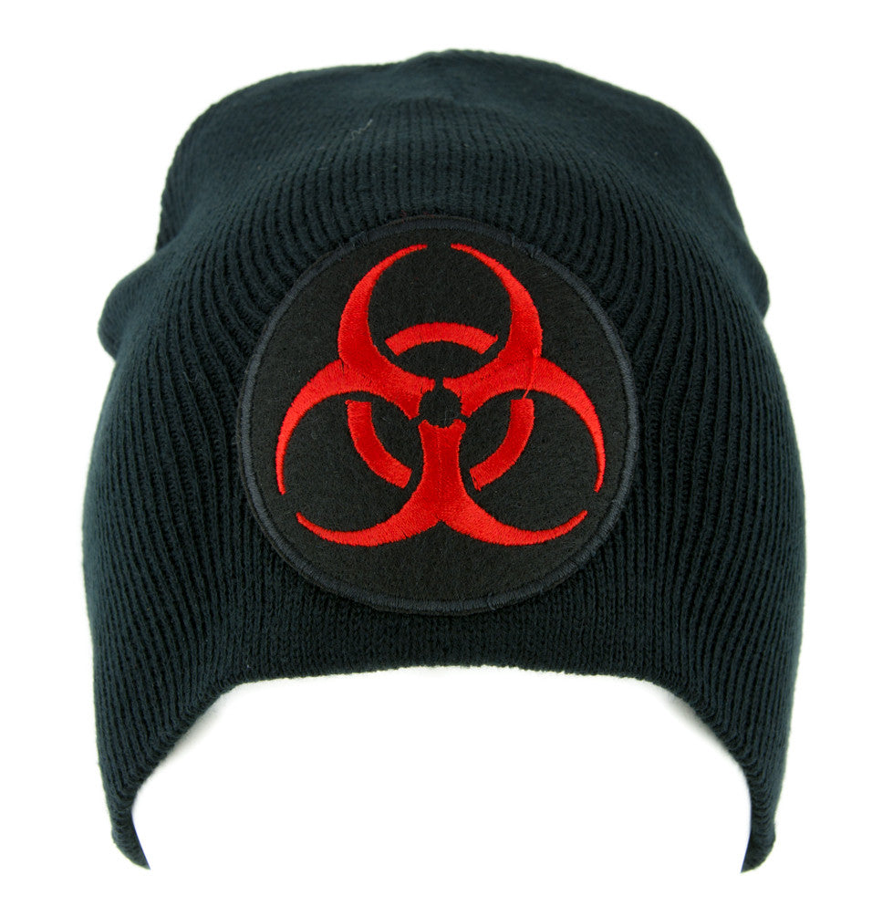 Lethal Red Biohazard Sign Beanie Knit Cap Horror Clothing Zombie Apocalypse